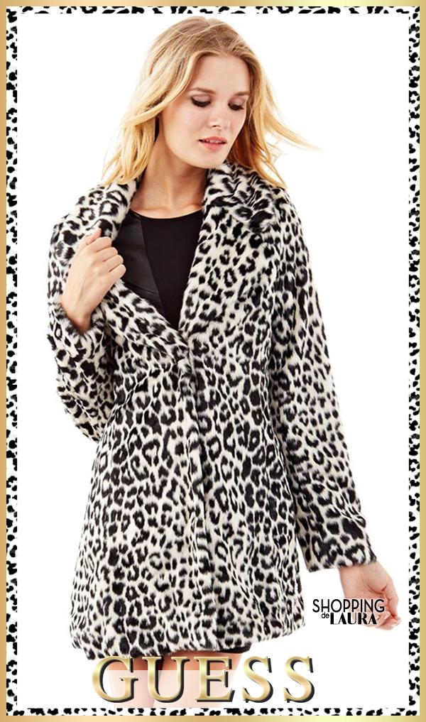manteau fausse fourrure leopard guess. Black Bedroom Furniture Sets. Home Design Ideas