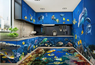 complete oceanic themed 3d design set of floor and cabinets for kitchen with flooring murals of fish and underwater life in 3d design