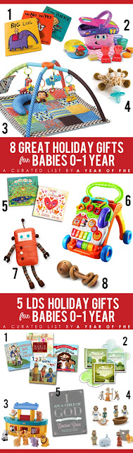 Check out this awesome Gift Guide! 8 Great Holiday Gifts for Babies 0-1 Year old + 5 Great ideas for LDS Christmas gifts for babies!