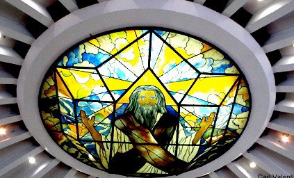 Stained-glass art on Greenbelt Chapel ceiling