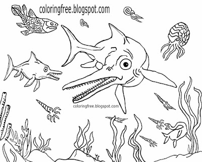 Ichthyosaurus ocean life late Triassic dinosaur coloring pages for kids Sea drawing ideas to print