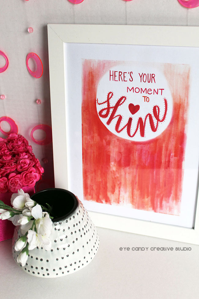 home decorating, coral & pink, flowers, framed art, free shine art print