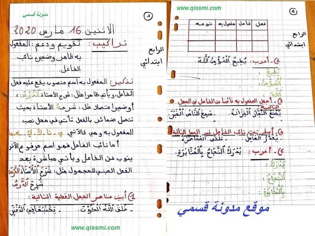 أنشطة داعمة للمستوى الرابع ابتدائي في اللغة العربية