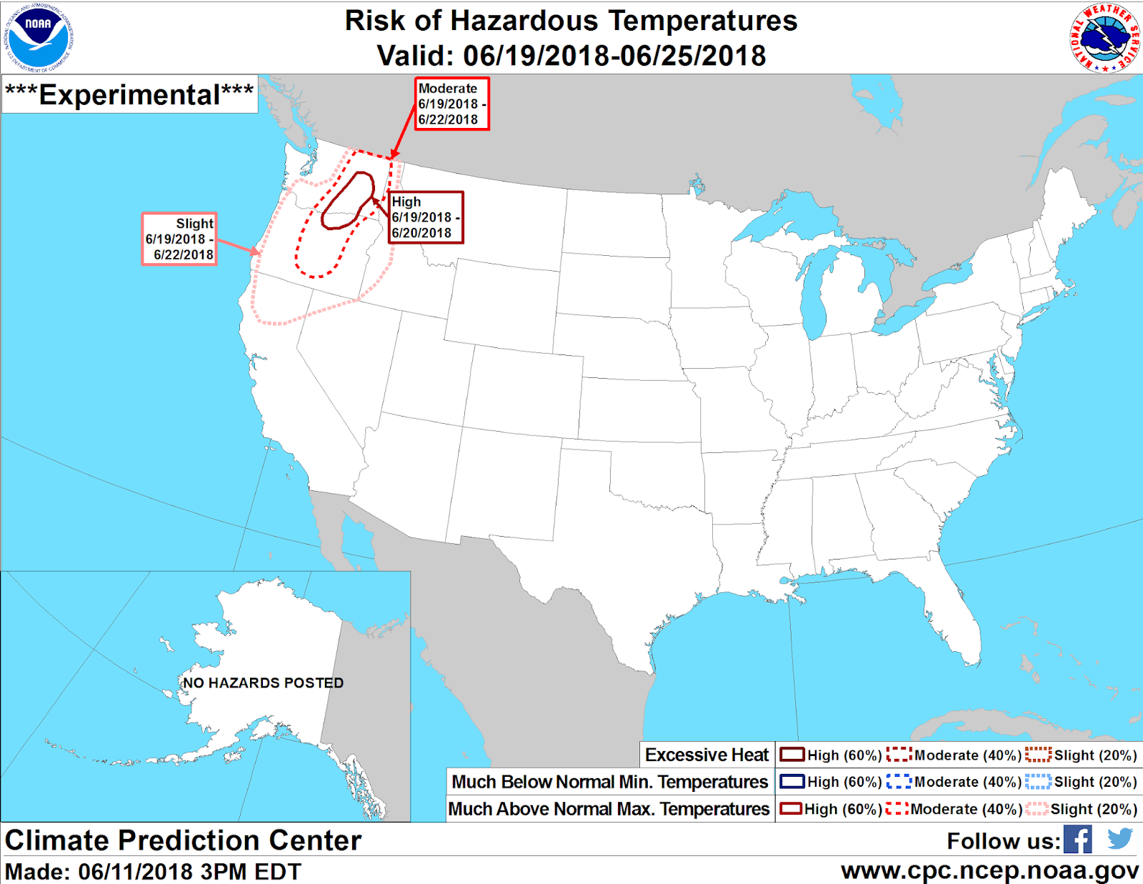 this experimental product from the climate prediction center issued today jun 11th shows a high risk 60 of excessive heat across the columbia basin on