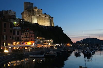 Lerici Castle and harbour at night
