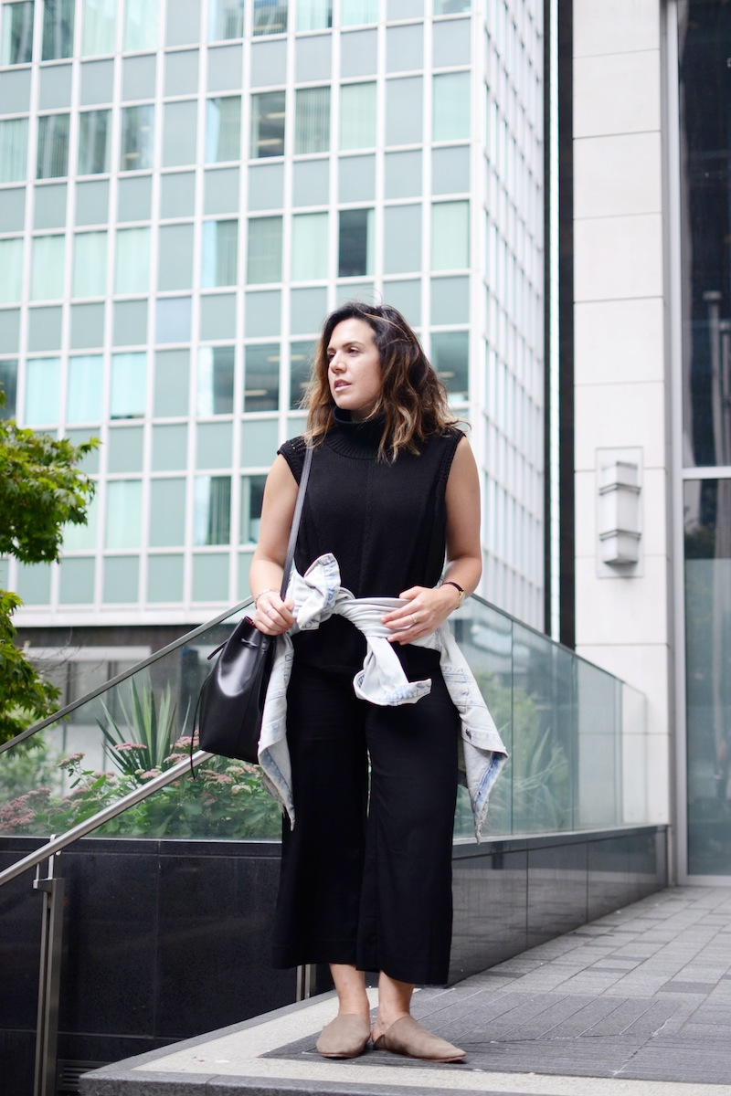 Helmut Lang turtleneck Le Chateau culottes A Bronze age shoes Vancouver fashion blogger