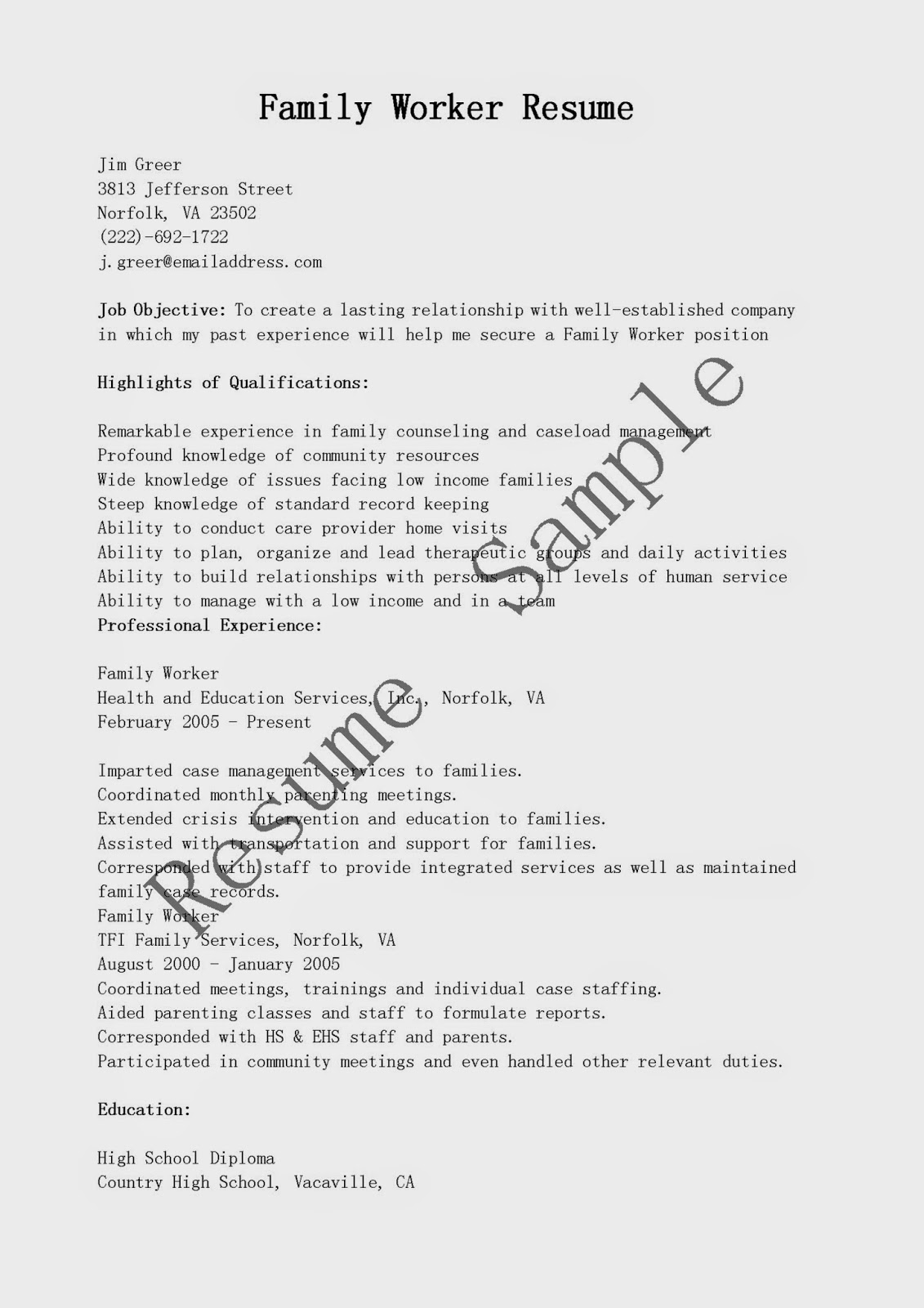 resume samples  family worker resume sample