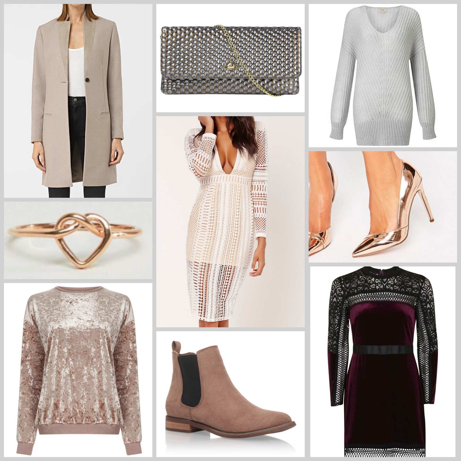 winter style wishlist cosy jumpers chic coats vivienne westwood clutch bag party dresses velvet pieces rose gold jewellery metallic statement heels shoes