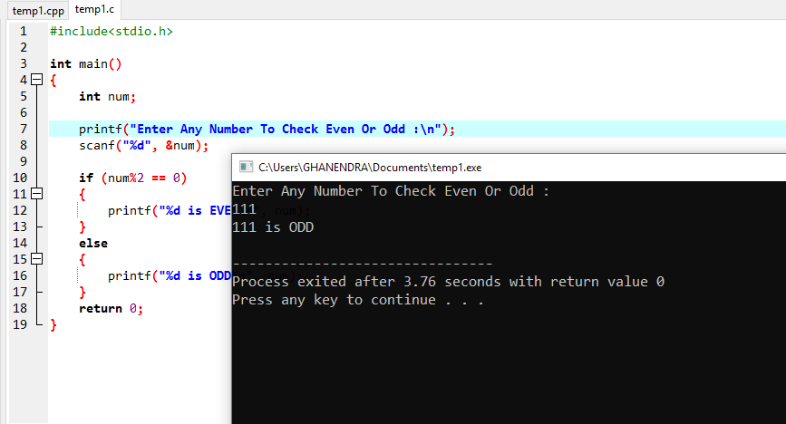 C Program For Check Number Is Even Or Odd
