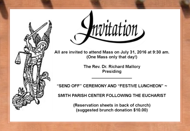 Life at St Michael and All Angels An Invitation Sendoff for Fr