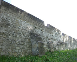View of the city wall from the outside, York, England