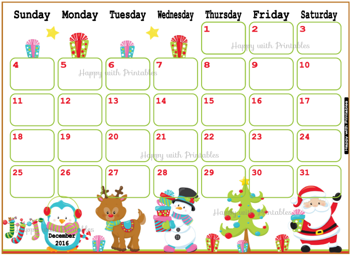 Happy With Printables Calendar November : Happywithprintables december calendar printable