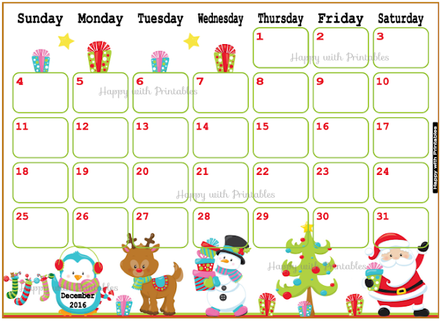 Christmas planner, december planner, december calendar, christmas calendar