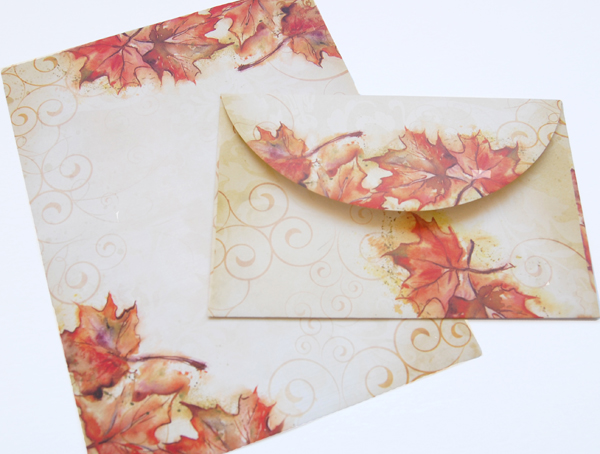 Vintage Fall Border Paper and Crescent Envelope from Paper Direct