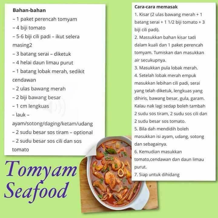 resepi tomyam seafood