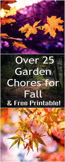 Top 25 Chores for your Fall Garden including a free printable.
