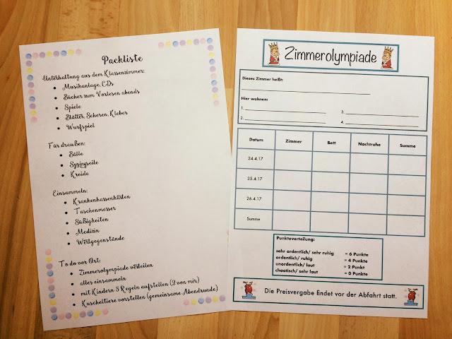 Klassenfahrt - To - do Liste und Zimmerolympiade