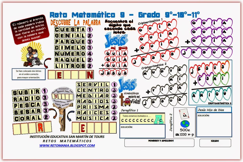 Retos matemáticos, Desafíos matemáticos, Problemas matemáticos, Criptoaritmética, Alfamética, Jeroglíficos, Descubre la Palabra, Jesús, Dios, Semana Santa y las matemáticas