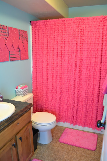 Hot Pink Ruffle Shower Curtain