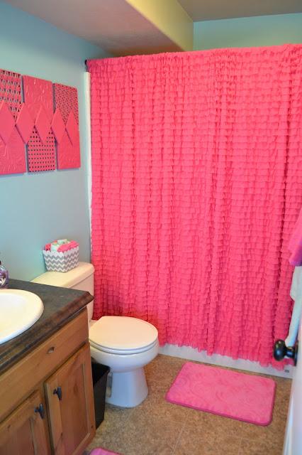 Hot Pink Ruffle Shower Curtain