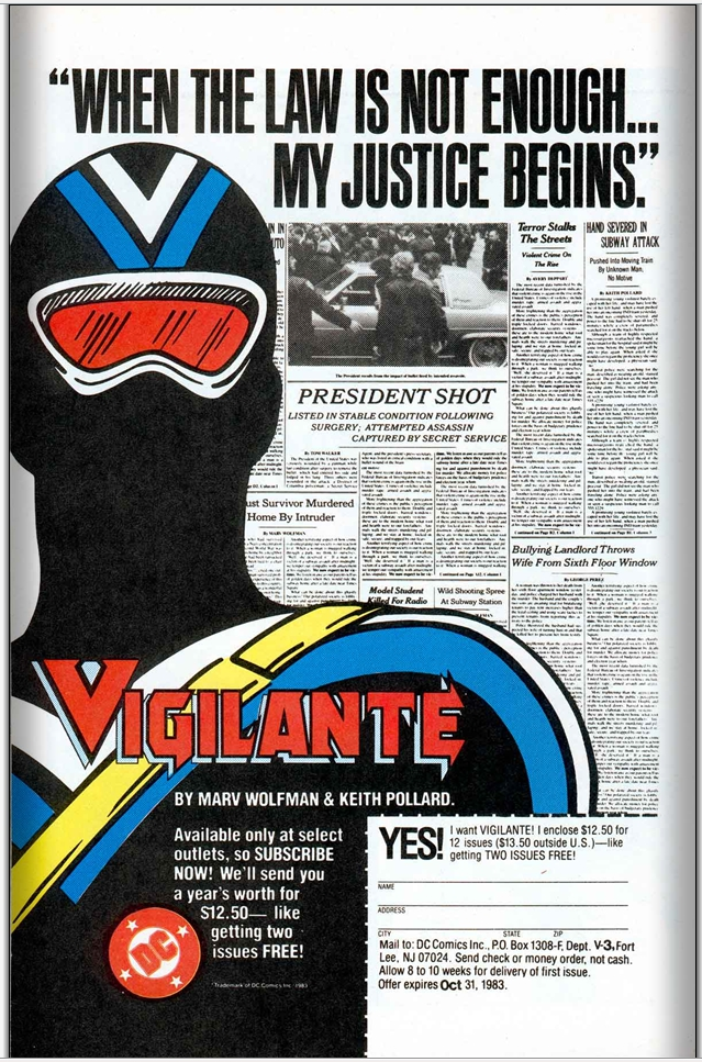 Vigilante house ad (circa 1983). Property of DC comics.