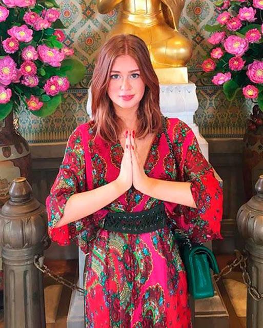 Look da Marina Ruy Barbosa na Tailandia, viagem com o namorado Xandinho Negrão, vestido estampado