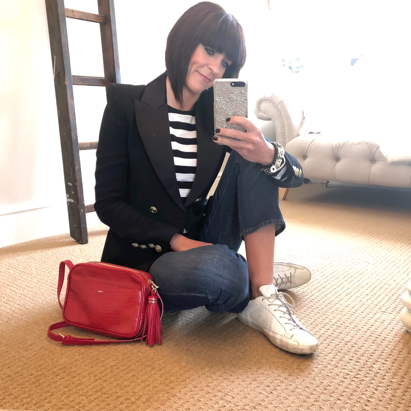 my midlife fashion, pierre balmain tuxedo jacket, raey long sleeve strip slub top, j crew billie demi crop kick flare jeans, uterque mock croc cross body bag, golden goose superstar low top leather trainers