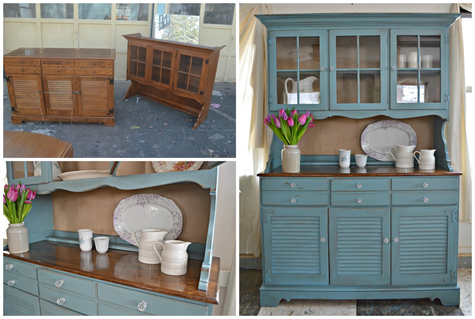Heir and Space: A Maple Ethan Allen Hutch in Blue and Cream