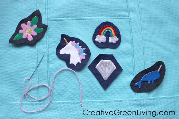 How to make patches from an old pair of jeans. Flower, unicorn, diamond a narwhal patches