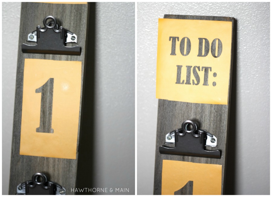 Get organized with this simple DIY project for an Organization Board! Tutorial with step by step directions, made from a reclaimed wood board, so cute!