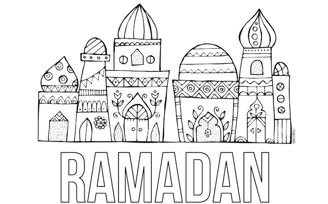 Masjid Ramadan Coloring Page Via Imaginairyart