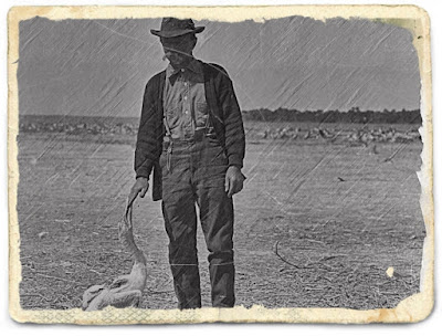 Vintage photo of man with a bird