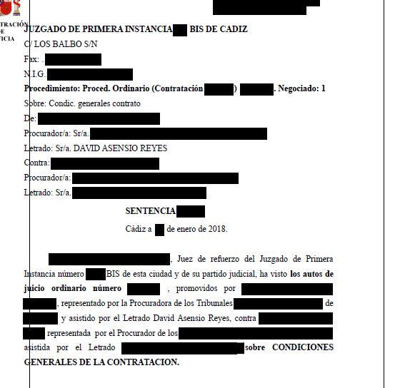 Sentencia que anula acuerdo privado de rebaja de clausula for Acuerdo devolucion clausula suelo