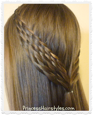 Woven braid tie back hairstyle, video tutorial