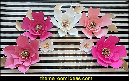 Paper Flowers Hot Pink Tones Backdrops  Paris party decorations - Paris themed party supplies - Party in Paris Birthday Party Decorations  -  Pink Paris Party -  Paris party balloons - Eiffel Tower Favor Boxes -  French-themed celebration  - Pink Poodle Paris Theme Birthday Party