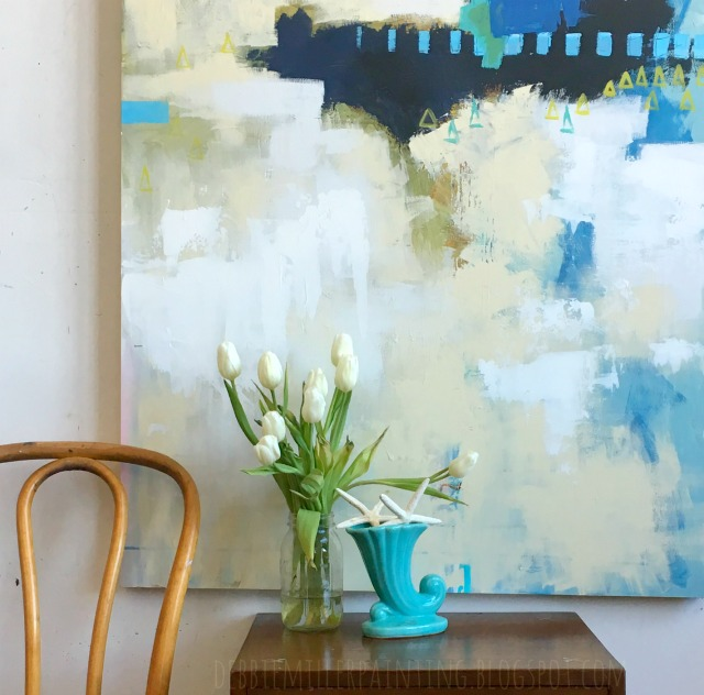 abstract art, white tulips, vintage blue vase