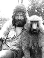 Dr Robert Sapolsky with a baboon