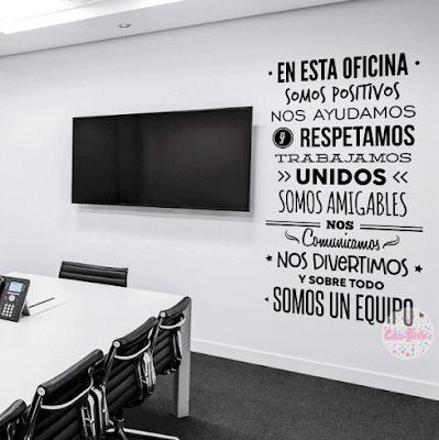 vinilos decorativos para pared de oficinas, frases para oficinas, ploteos de oficinas