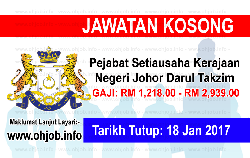 Jawatan Kerja Kosong Kerajaan Negeri Johor Darul Takzim logo www.ohjob.info januari 2017