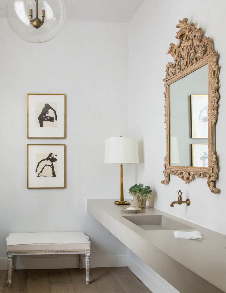 Modern farmhouse style elegant powder room bath - found on Hello Lovely Studio