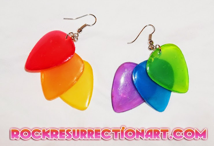 Rainbow Guitar Pick Earrings