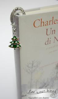 regalo Natale segnalibro metallo ciondolo albero di Natale