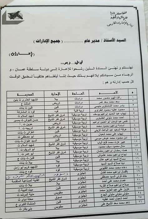 """اسماء المعلمين المعارين لسلطنة عمان ودولة البحرين لجميع المواد """" الاوراق المطلوبة ونماذج الاختبارات """" - اضغط هنا"""