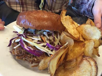 Pulled-pork sandwich with fresh coleslaw at Jolane's