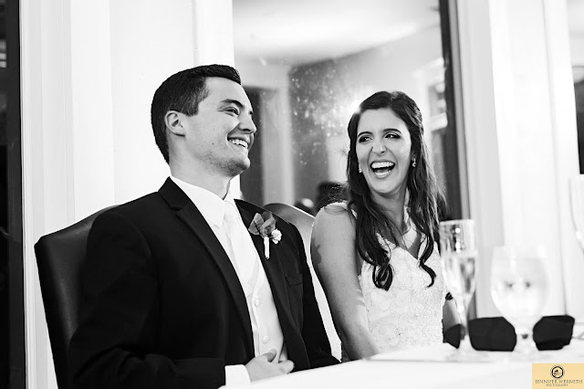 at table bride groom