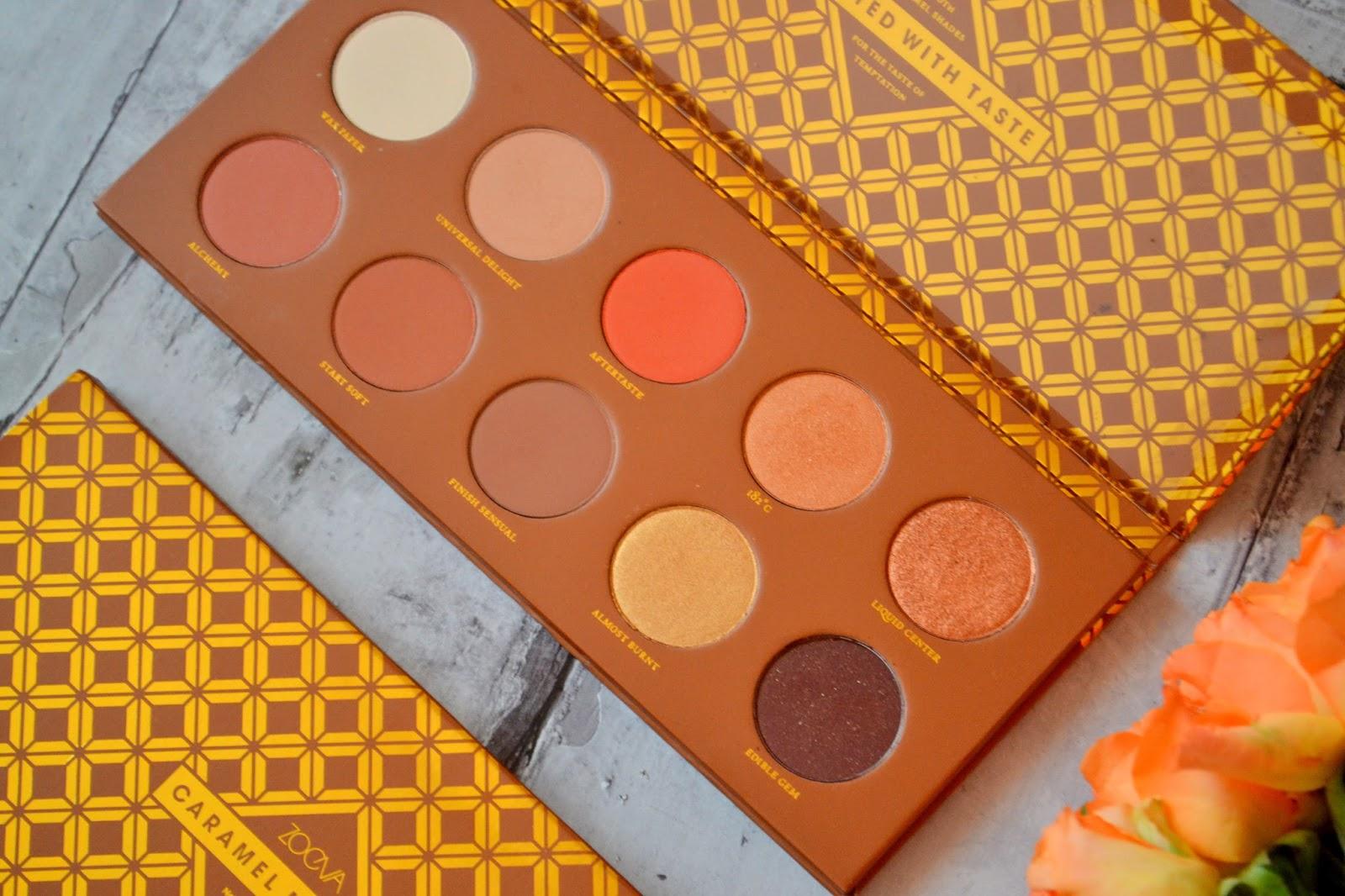 Caramel melange zoeva, najlepsze cienie, paleta cieni, caramel melange makijaż, paleta ciepłych cien swatche