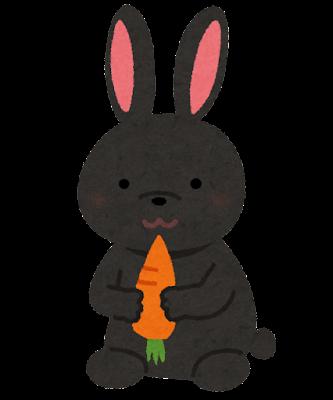 黒いウサギのイラスト