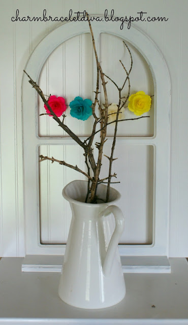 tree branches in enamelware farmhouse pitcher