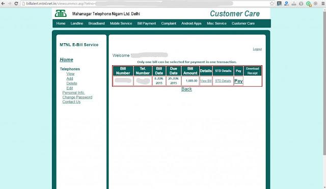 MTNL bill payment online Delhi - Bill Details
