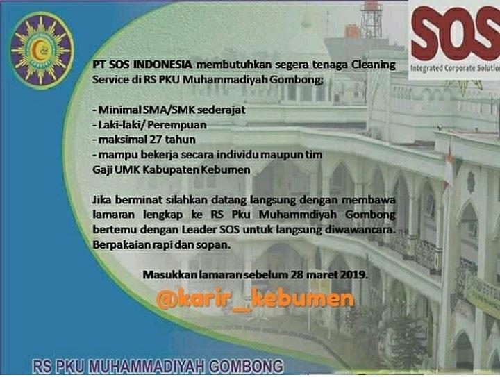 Lowongan Kerja Cleaning Service Di Rs Pku Muhammadiyah Gombong Bursa Lowongan Kerja